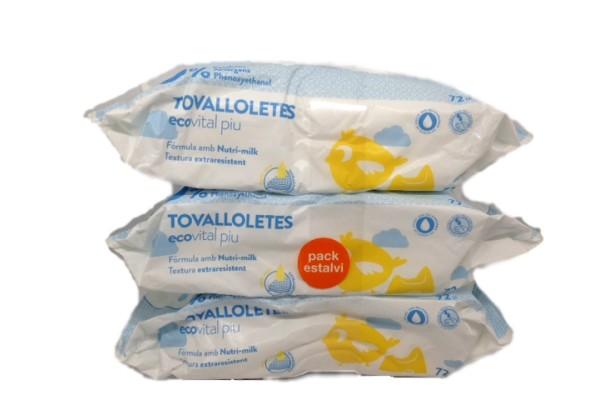 ECOVITAL TOALLITAS BEBE PACK TRIPLE
